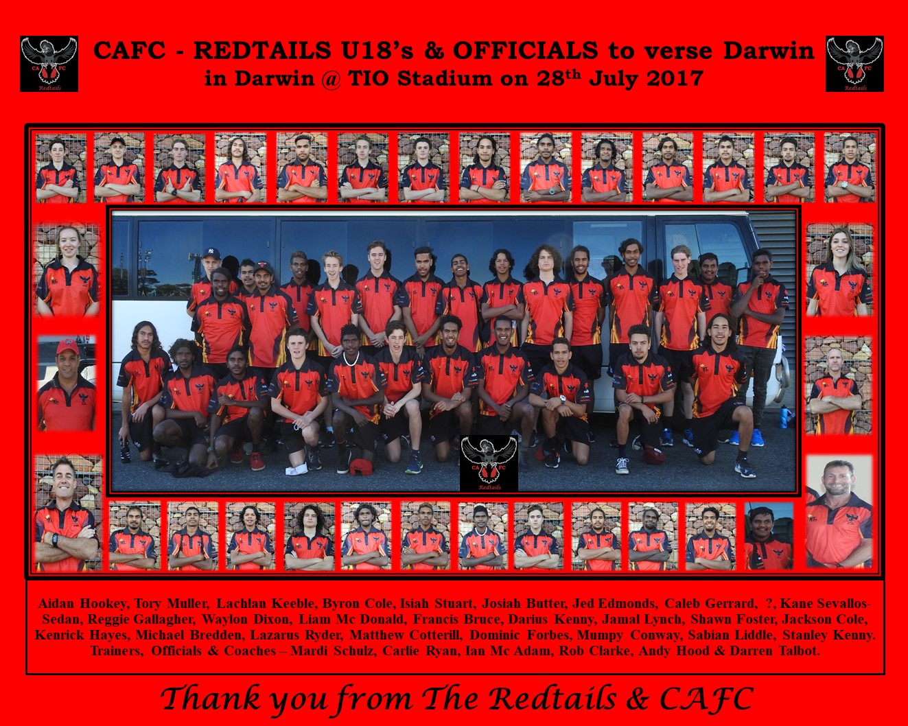 Redtails U18 - 29th July 2017 to Darwin-collage