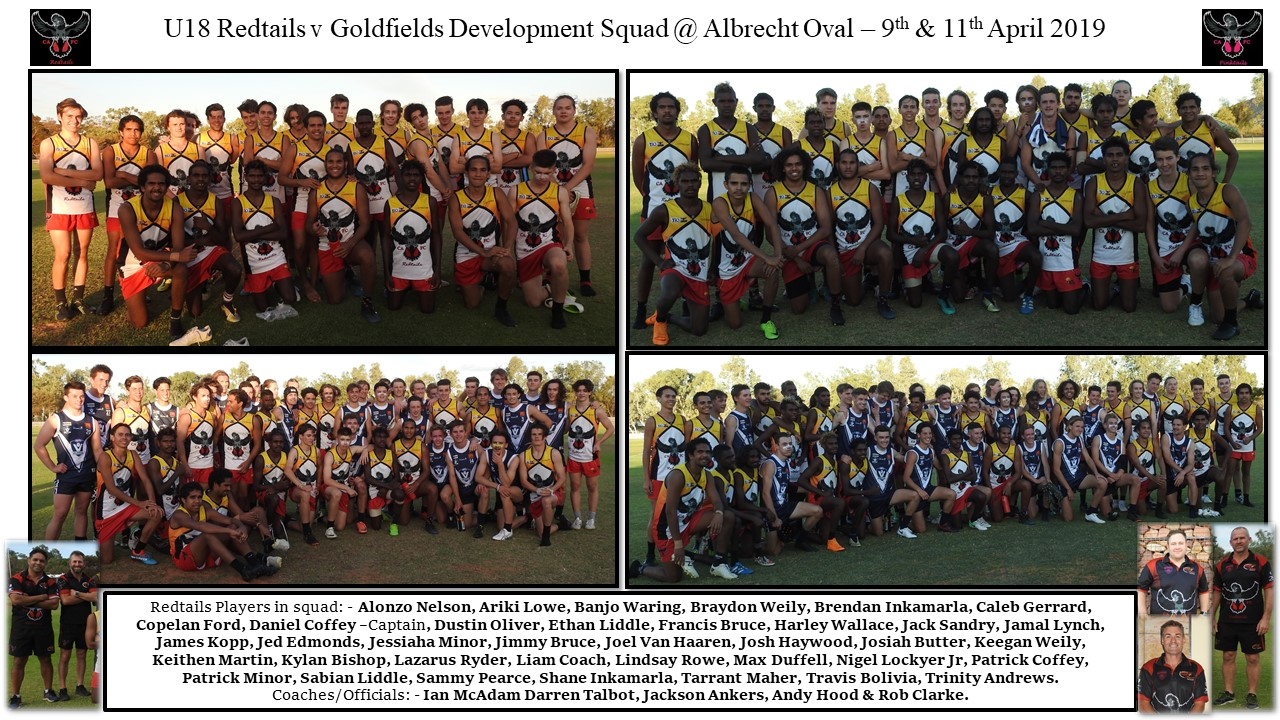 Redtails U18 squad collage v Golfields 9-11.04.2019